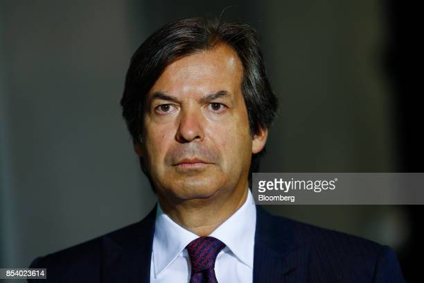 Carlo Messina chief executive officer of Intesa Sanpaolo SpA pauses during a Bloomberg Television Interview at the Bloomberg European Banking...