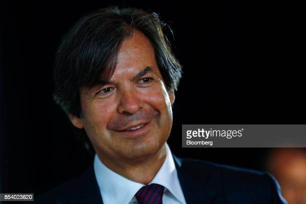 Carlo Messina chief executive officer of Intesa Sanpaolo SpA reacts following a Bloomberg Television Interview at the Bloomberg European Banking...