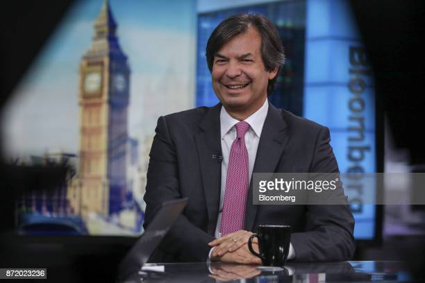 Carlo Messina chief executive officer of Intesa Sanpaolo SpA reacts during a Bloomberg Television interview in London UK on Thursday Nov 9 2017...