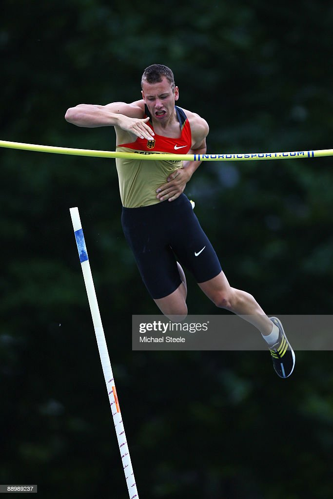 Carlo Paech of Germany on his way to silver in the boy's pole vault final during day five of the Iaaf World Youth Championships at the Bressanone Sports Complex on July 12, 2009 in Brixone Bressanone, Italy.