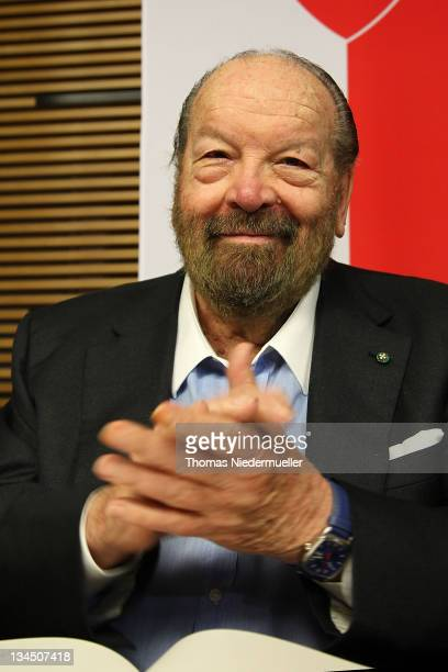 Carlo Pedersoli alias Bud Spencer attends a press conference prior to an inauguration of a public swimming pool on December 2 2011 in Schwaebisch...