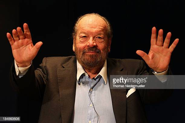 Carlo Pedersoli alias Bud Spencer gestures during a press conference after an inauguration of a public swimming pool on December 2, 2011 in...