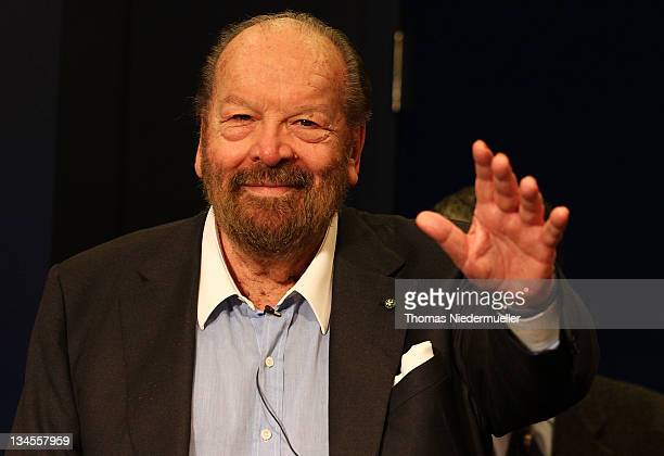 Carlo Pedersoli alias Bud Spencer smiles during a press conference after an inauguration of a public swimming pool on December 2 2011 in Schwaebisch...