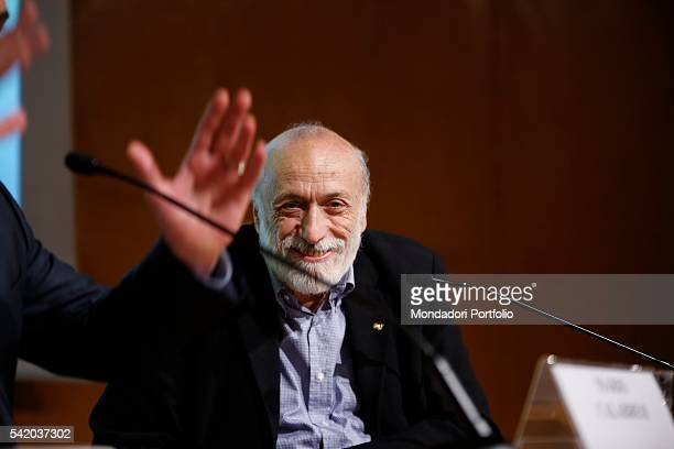 Carlo Petrini writer and Slow Food founder during his speech at the XXIX International Book Fair in Turin Lingotto Fiere May 13 2016
