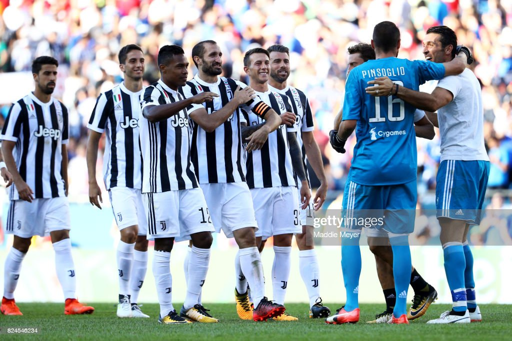 Carlo Pinsoglio #16 celebrates with teammates after Juventus defeat Roma 6-5 in penalty kicks during the International Champions Cup 2017 match at Gillette Stadium on July 30, 2017 in Foxboro, Massachusetts.