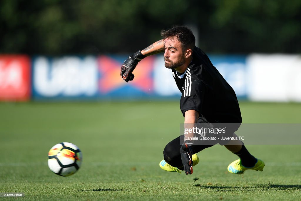 Carlo Pinsoglio of Juventus during a training session on July 16, 2017 in Vinovo, Italy.