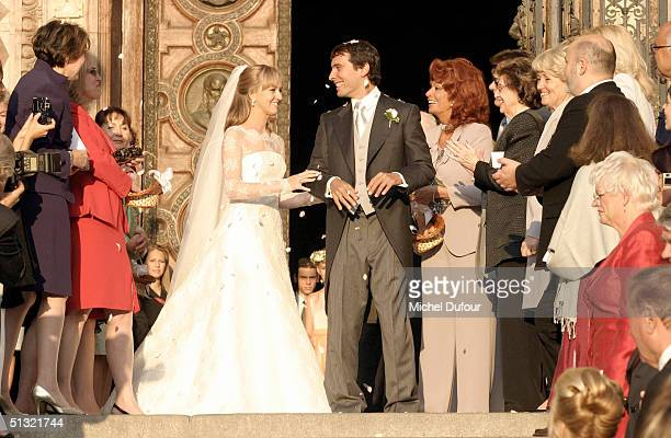 Carlo Ponti Jr leaves St. Stephen's Basilica with his wife Andrea Meszaros September 18, 2004 in Budapest, Hungary.