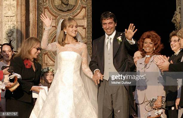 Carlo Ponti Jr leaves St Stephen's Basilica with his wife Andrea Meszaros September 18 2004 in Budapest Hungary