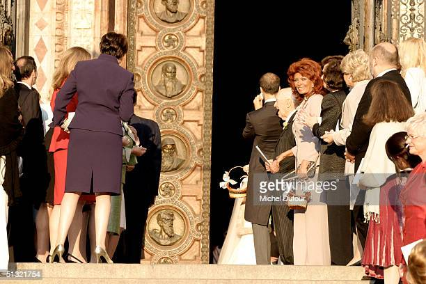 Carlo Ponti Jr leaves St Stephen's Basilica with his wife Andrea Meszaros on September 18 2004 in Budapest Hungary