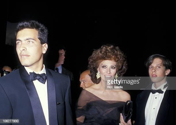 Carlo Ponti Jr Sophia Loren and Edoardo Ponti during World Premiere of The Fortunate Pilgrim March 28 1988 at Lincoln Center in New York City New...