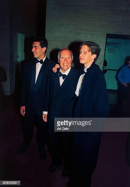 Carlo Ponti with his sons Edoardo and Alex circa 1980 New York