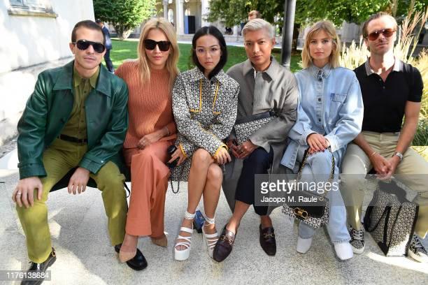 Carlo Sestini, Tina Leung, Yoyo Cao, Bryanboy, Xenia Adonts and Chris Burt Allan attend the Salvatore Ferragamo show during Milan Fashion Week...