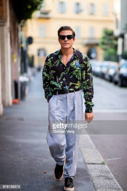 Carlo Sestini wearing button shirt with floral print is seen outside Stella McCartney during Milan Men's Fashion Week Spring/Summer 2019 on June 18...