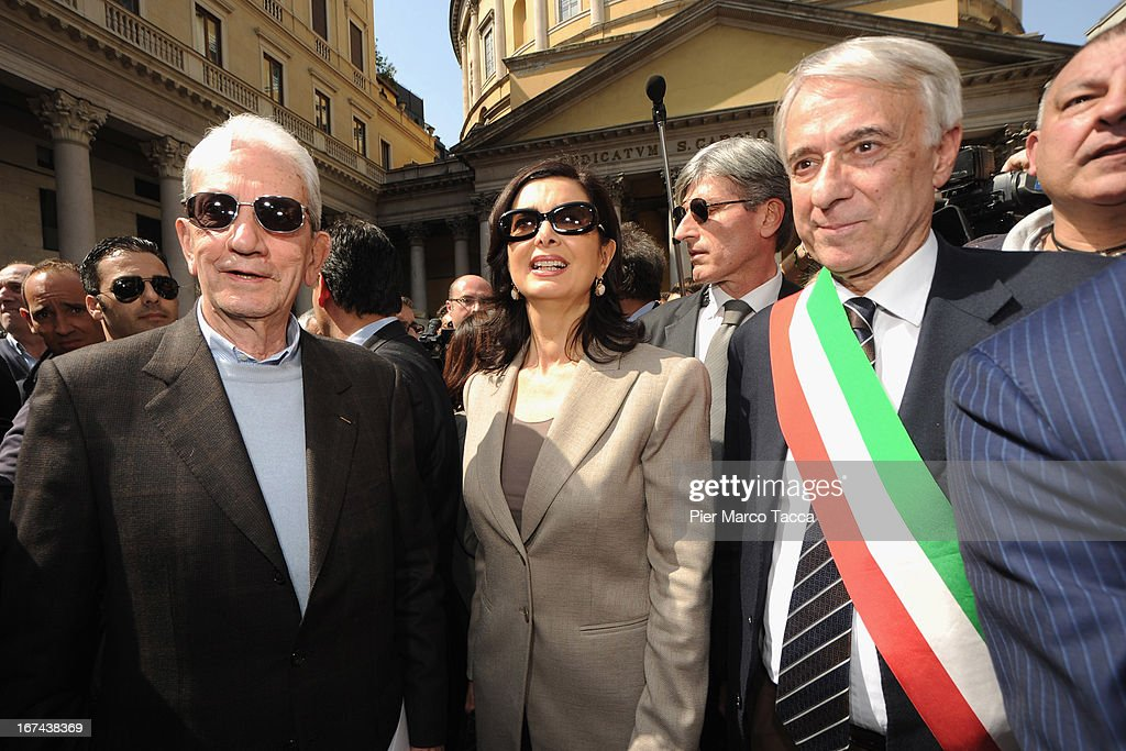 Carlo Smuraglia President of ANPI (National association of Italian Partisan) in Milan, President of the Chamber of Deputies Laura Boldrini and Mayor of Milan Giuliano Pisapia attend a march to mark the 68th Festa Della Liberazione on April 25, 2013 in Milan, Italy.The symbolic celebration day commemorates the Liberation of Italy and the Italian resistance movement after the Nazi occupation army left Northern Italy on April 25, 1945.