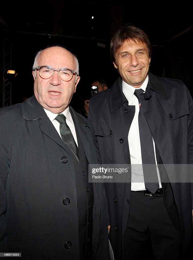 Carlo Tavecchio (L) and Antonio Conte attend the launch of the new Puma home kit at Palazzo Vecchio on November 9, 2015 in Florence, Italy.