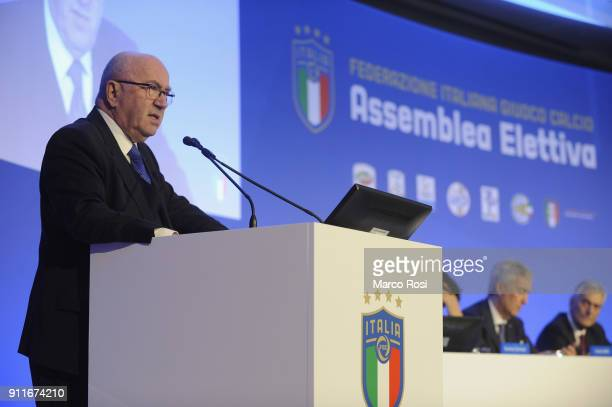 Carlo Tavecchio of FIGC attends the Italian Football Federation new president elections on January 29 2018 in Rome Italy