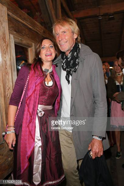 Carlo Thraenhardt and his girlfriend Stefanie Pregitzer during the Almauftrieb as part of the Oktoberfest 2019 at Kaefer Tent at Theresienwiese on...