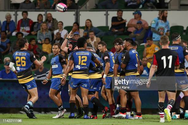 Carlo Tizzano of the Force celebrates after crossing for a try during the Rapid Rugby match between the Western Force and the Asia Pacific Dragons at...