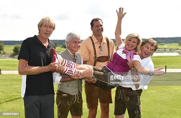 Carlo Traenhardt Frederic Meisner Lars Riedel and Marianne Hartl and Michael Hartl during the 5th Lederhos'n Cup on September 2 2016 in Valley near...