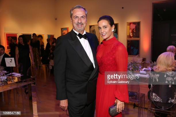 Carlo Traglio and Cristiana Vigano attend VHERNIER 20 Years Of Calla Dinner In Support Of BCRF at Sotheby's on October 17 2018 in New York City