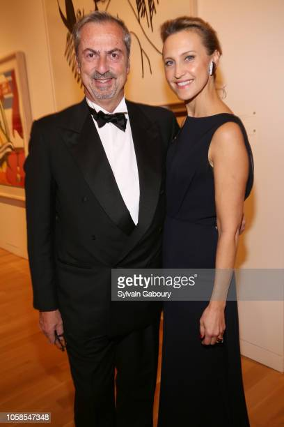 Carlo Traglio and Kinga Lampert attend VHERNIER 20 Years Of Calla Dinner In Support Of BCRF at Sotheby's on October 17 2018 in New York City