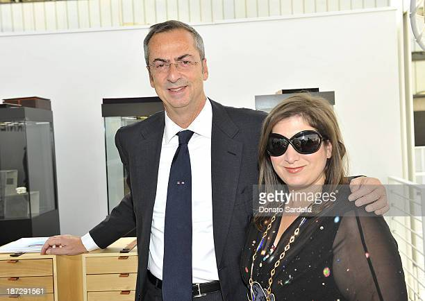 Carlo Traglio CEO of Vhernier and Jennifer Hale attend Vhernier luncheon hosted by Jennifer Hale from C Magazine at Gagosian Gallery on November 7...