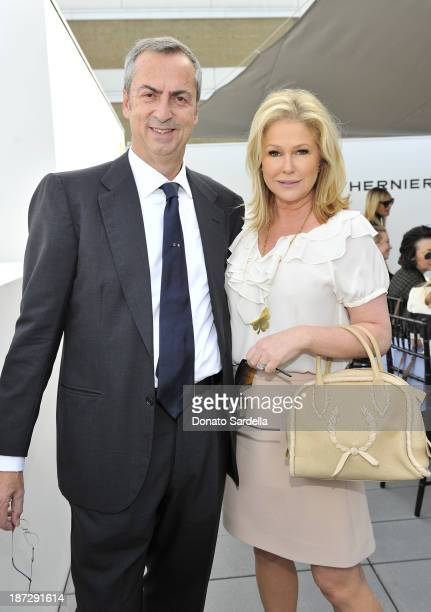 Carlo Traglio CEO of Vhernier and Kathy Hilton attends Vhernier luncheon hosted by Jennifer Hale from C Magazine at Gagosian Gallery on November 7...