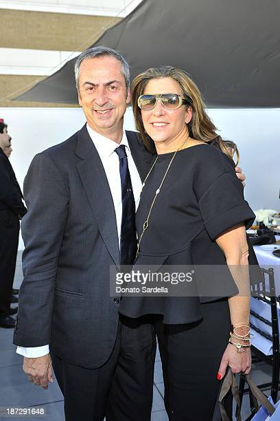 Carlo Traglio CEO of Vhernier and Veronica Toub attend Vhernier luncheon hosted by Jennifer Hale from C Magazine at Gagosian Gallery on November 7...