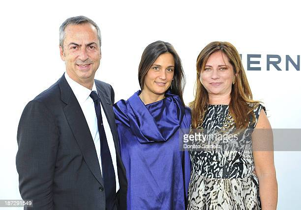 Carlo Traglio CEO of Vhernier Christiana Vigano` and Anna Maria Castracane attend Vhernier luncheon hosted by Jennifer Hale from C Magazine at...