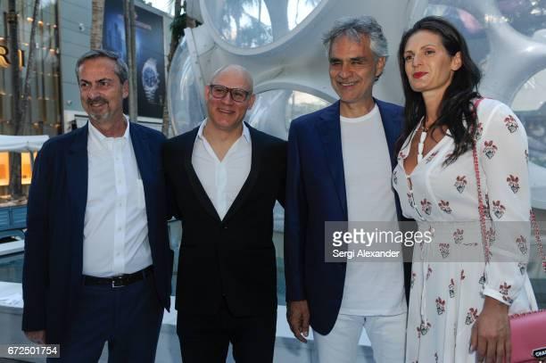 Carlo Traglio Craig Robins Andrea Bocelli and Veronica Berti attend the Vhernier launch with Andrea Bocelli in Design District on April 24 2017 in...