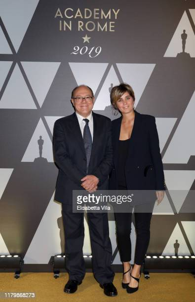 Carlo Verdone and Giulia Verdone attend Academy of Motion Picture, Arts and Sciences and Istituto Luce - Cinecittà Event at Palazzo Barberini on...
