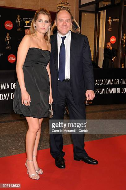 Carlo Verdone and his daughter Giulia arrive at the Conciliazione Auditorium to attend the 2008 David di Donatello Awards ceremony, in Rome.