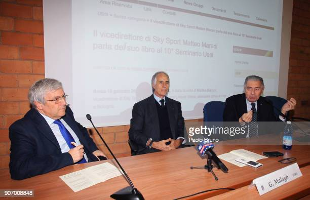Carlo Verna Giovanni Malago' president of CONI Luigi Ferrajolo president of USSI attend the Italian Football Federation and USSI seminar at Giulio...