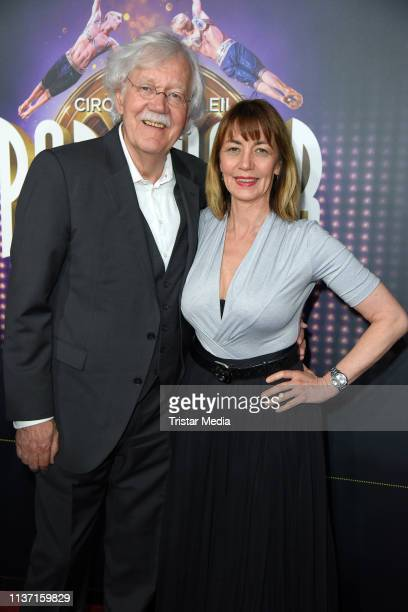 Carlo von Tiedemann and his wife Julia Laubrunn attend the Cirque du Soleil 'Paramour - Das Musical' premiere on April 14, 2019 in Hamburg, Germany.