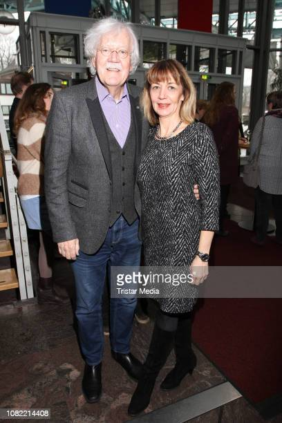 Carlo von Tiedemann and Julia Laubrunn during the new year reception at Komoedie Winterthuder Fahrhaus on January 13, 2019 in Hamburg, Germany.