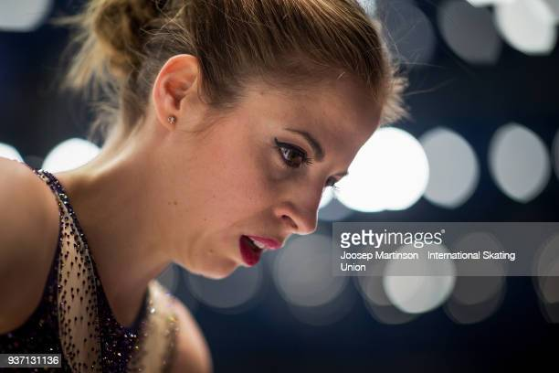 Carlolina Kostner of Italy prepares in the Ladies Free Skating during day three of the World Figure Skating Championships at Mediolanum Forum on...