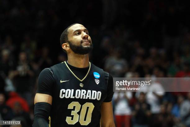 Carlon Brown of the eCoalorado Buffaloes reacts after losing 80-63 to the Baylor Bears during the third round of the 2012 NCAA Men's Basketball...