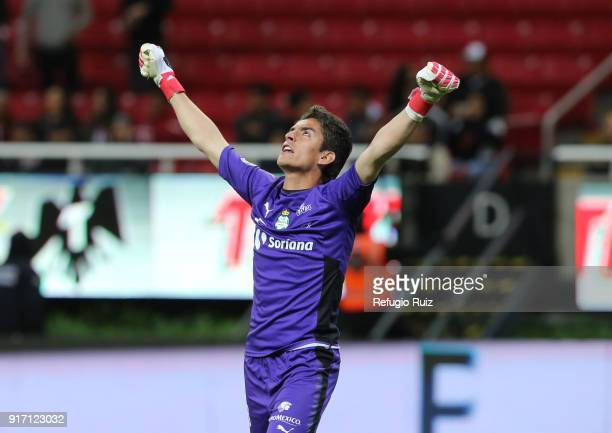 Carlos Acevedo goalkeeper of Santos celebrates after winning the 6th round match between Chivas and Santos Laguna as part of the Torneo Clausura 2018...