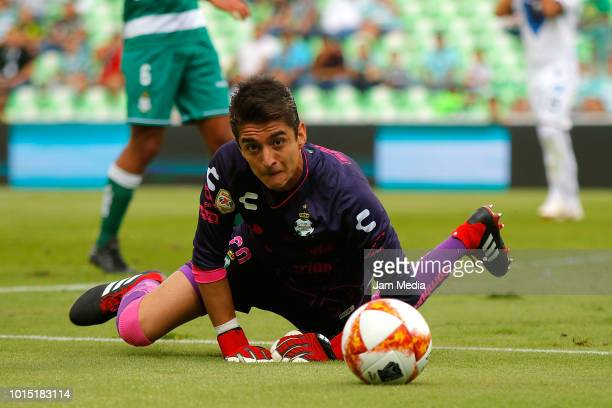 Carlos Acevedo of Santos falls during the match between Santos Laguna and Celaya as part of the Copa MX Apertura 2018 at Corona Stadium on August 7...