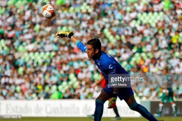 Carlos Acevedo of Santos rolls the ball during the 1st round match between Santos Laguna and Lobos BUAP as part of the Torneo Apertura 2018 at Corona...