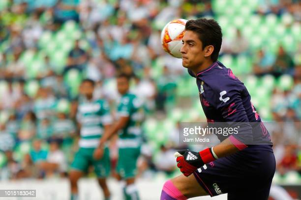 Carlos Acevedo of Santos throws the ball during the match between Santos Laguna and Celaya as part of the Copa MX Apertura 2018 at Corona Stadium on...