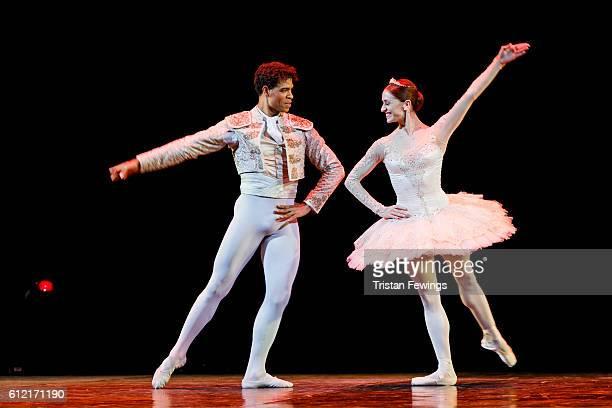 Carlos Acosta and Marianela Nunez perform a scene from Don Quixote at the dress reherasal of Carlos Acosta The Classical Farewell at Royal Albert...