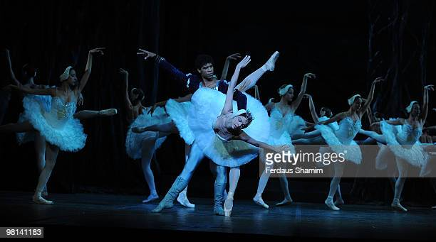 Carlos Acosta and perrformers of Swan Lake on stage during a photocall for Swan Lake performed by the Ballet Nacional De Cuba on March 30 2010 in...