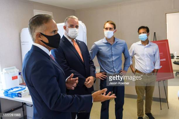 Carlos Acosta attends BioReference Laboratories hosts Grand Opening of COVID19 Antibody Testing Collection Event at the Miami International Mall with...