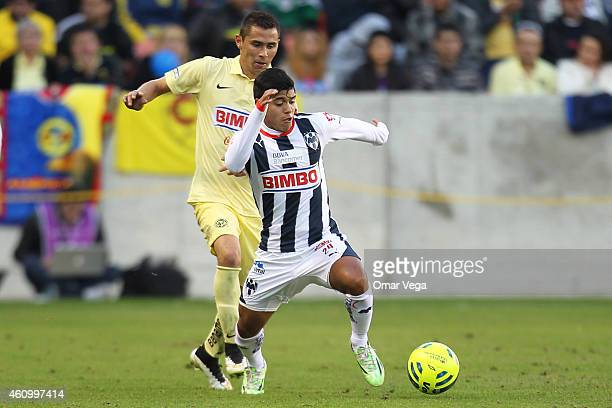 Carlos Acosta of 24 Monterrey drives the ball during a friendly match between America and Monterrey at BBVA Compass Stadium on January 03 2015 in...