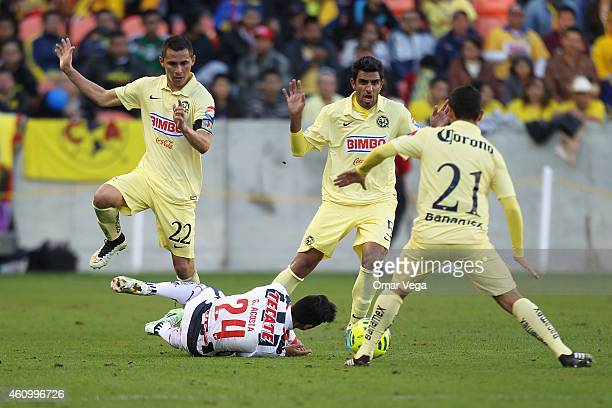 Carlos Acosta of Monterrey is fouled during a friendly match between America and Monterrey at BBVA Compass Stadium on January 03 2015 in Houston...