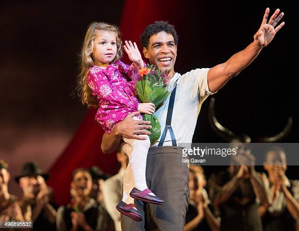Carlos Acosta salutes the crowd with his daughter Aila Acostaduring his final curtain call after performing 'Carmen' for the last time at The Royal...