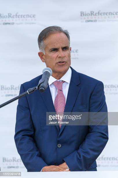 Carlos Acosta speaks during BioReference Laboratories hosts Grand Opening of COVID19 Antibody Testing Collection Event at the Miami International...