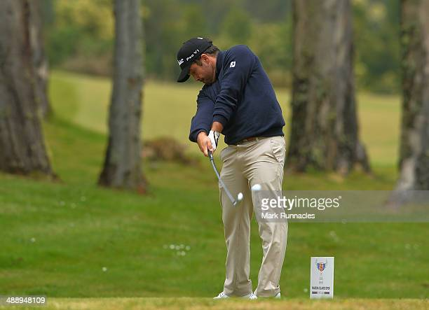 Carlos Aguilar of Spain plays his tee shot from the 3rd tee during the Madeira Islands Open Portugal BPI at Club de Golf do Santo da Serra on May 9...