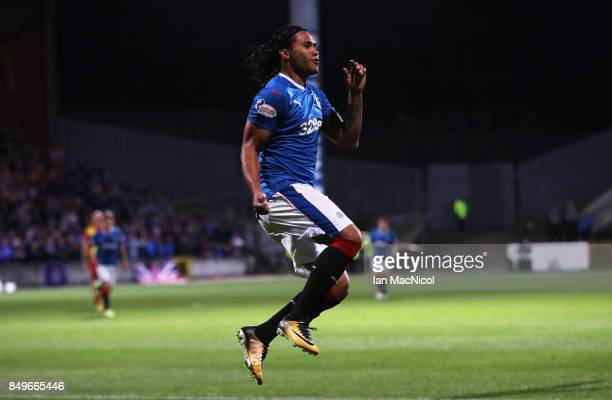 Carlos Alberto Pena of Rangers celebrates after he scores the opening goal of the game during the Betfred League Cup Quarter Final at Firhill Stadium...